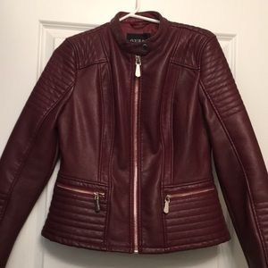 Guess Faux Leather Moto Jacket in Burgundy